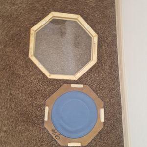 reco Wall Art - Vintage Glass Wood Plate Frame Shadowbox